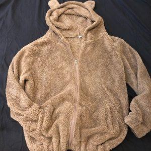 Fluffy teddy bear hooded sweatshirt